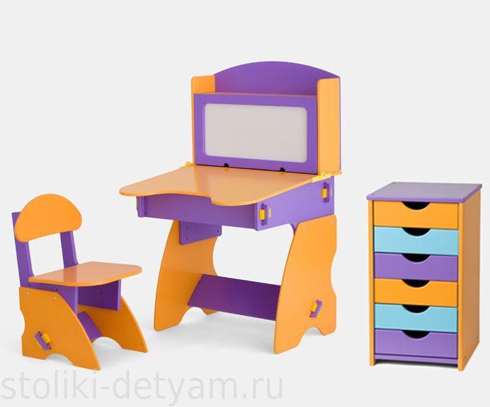 Комплект столик с магнитной доской и тумбочкой, фиолетово-оранжевый ФОК-1 Столики Детям