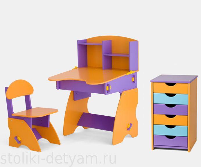 Комплект столик с полочками и тумбочкой, фиолетово-оранжевый ФОК-2 Столики Детям