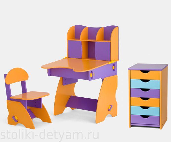 Комплект столик с дверцами и тумбочкой, фиолетово-оранжевый ФОК-3 Столики Детям