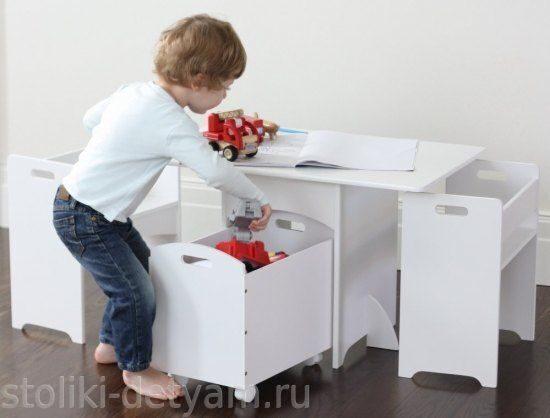 Детский столик + 2 стула + ящик для игрушек Nils-2 Столики Детям