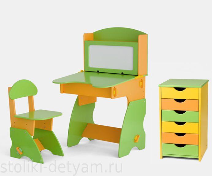 Комплект столик с магнитной доской и тумбочкой, салатово-оранжевый СОК-1 Столики Детям