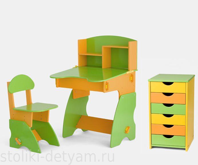Комплект столик с полочками и тумбочкой, салатово-оранжевый СОК-2 Столики Детям