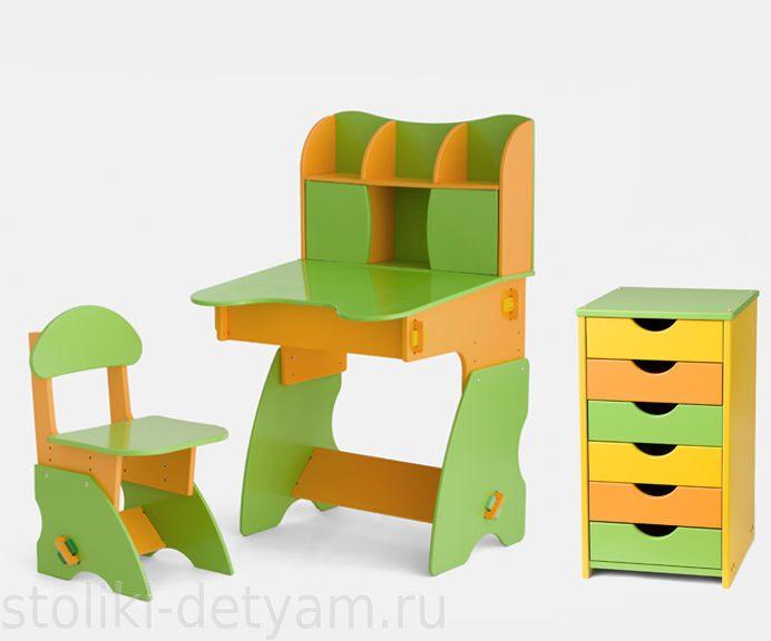 Комплект столик с дверцами и тумбочкой, салатово-оранжевый СОК-3 Столики Детям