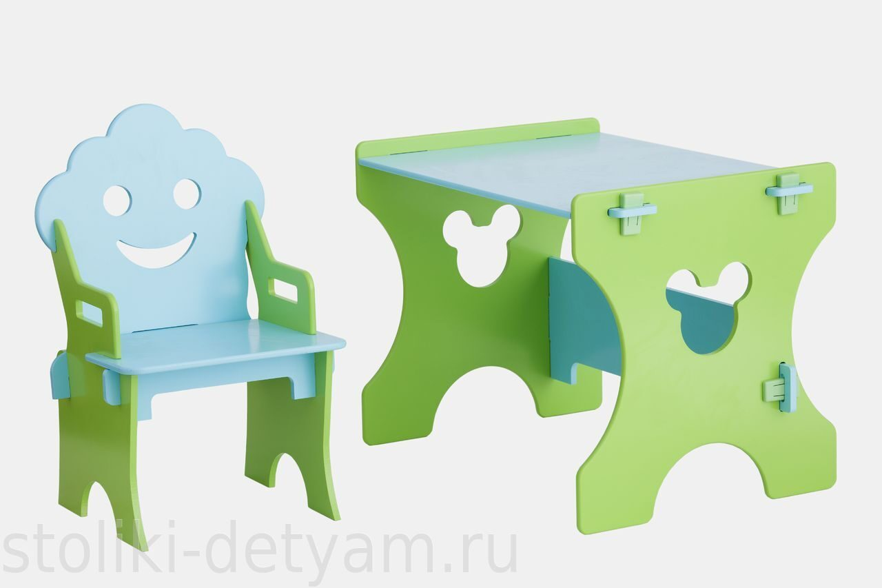 """Комплект столик сл стульчиком """"Гном"""", салатово-голубой СГ-4 Столики Детям"""