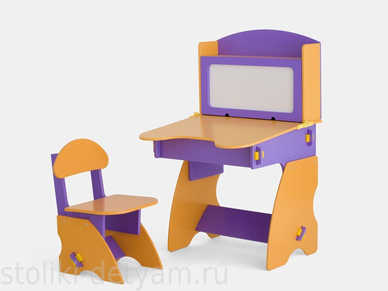 Детский столик с магнитной доской, фиолетово-оранжевый ФО-1 Столики Детям