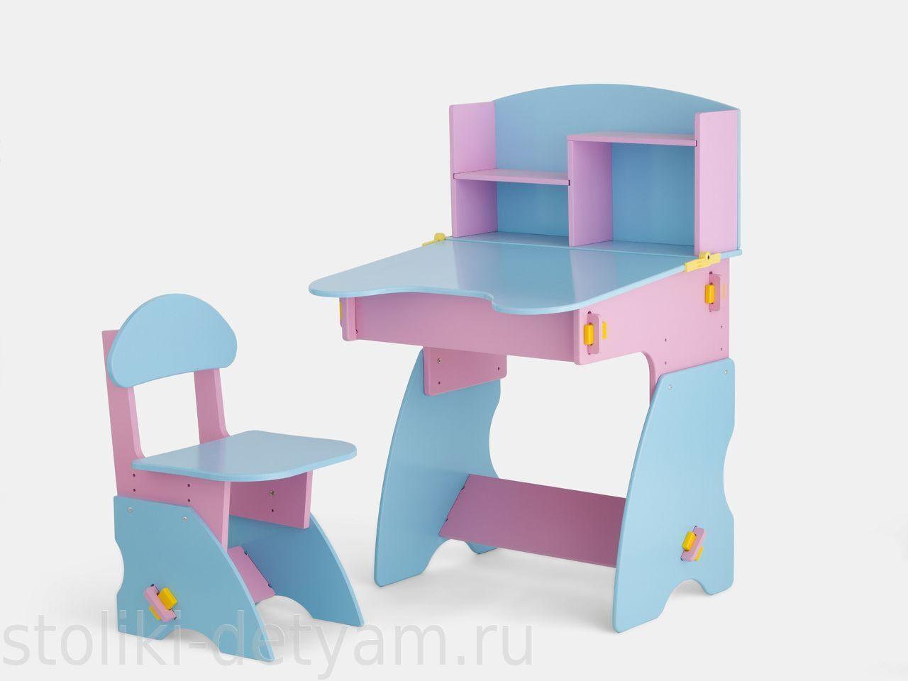 Детский столик с полочками, розово-голубой РГ-2 Столики Детям
