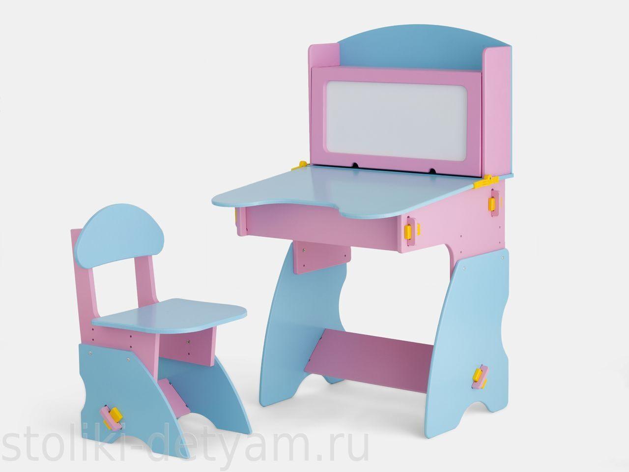 Детский столик с магнитной доской, розово-голубой