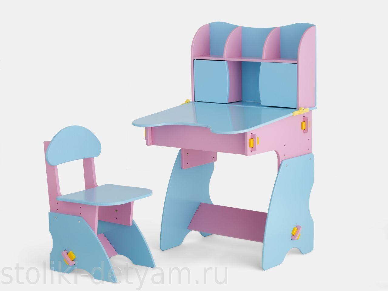 Детский столик с дверцами, розово-голубой РГ-3 Столики Детям