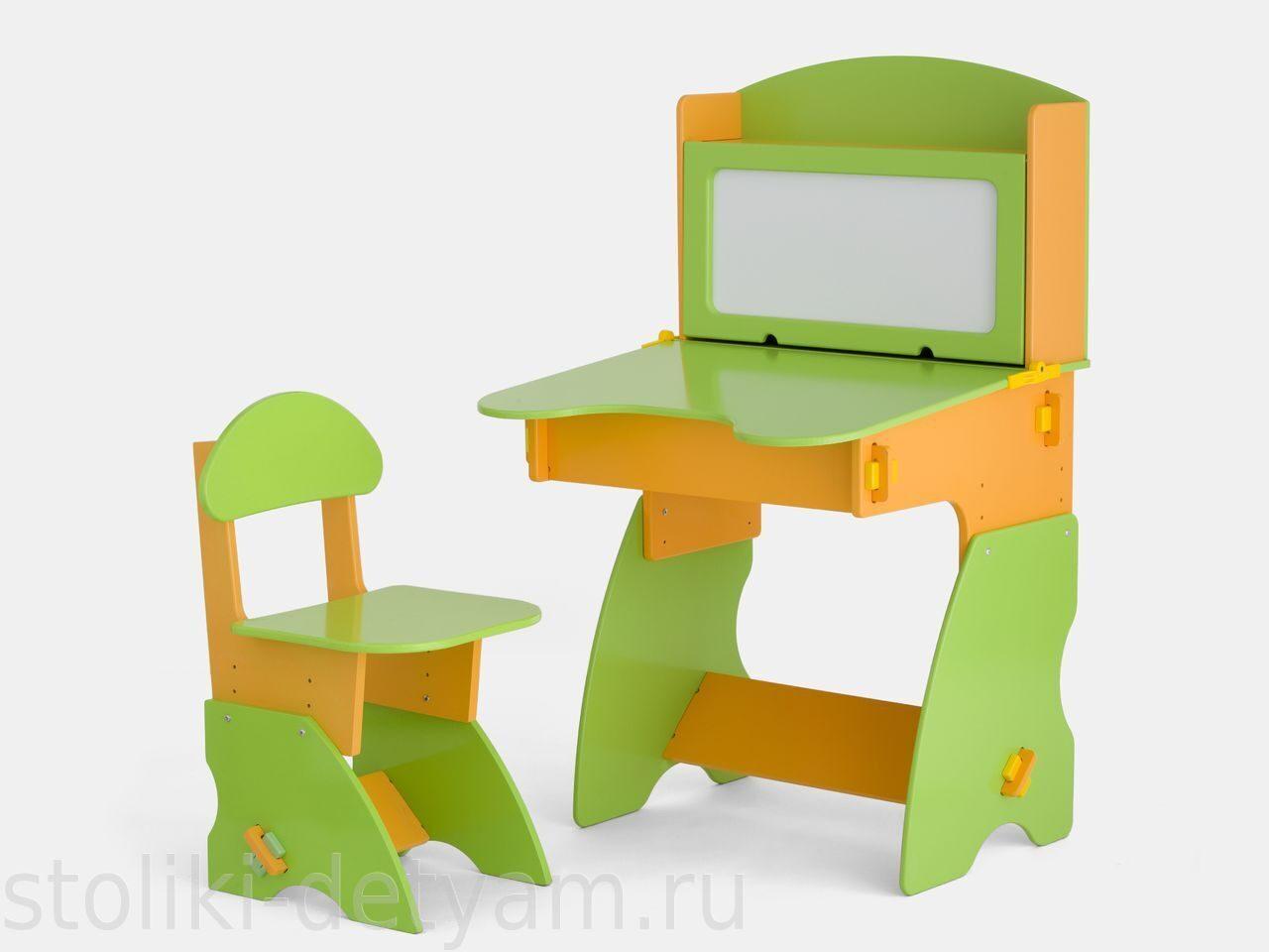 Детский столик с магнитной доской, салатово-оранжевый СО-1 Столики Детям