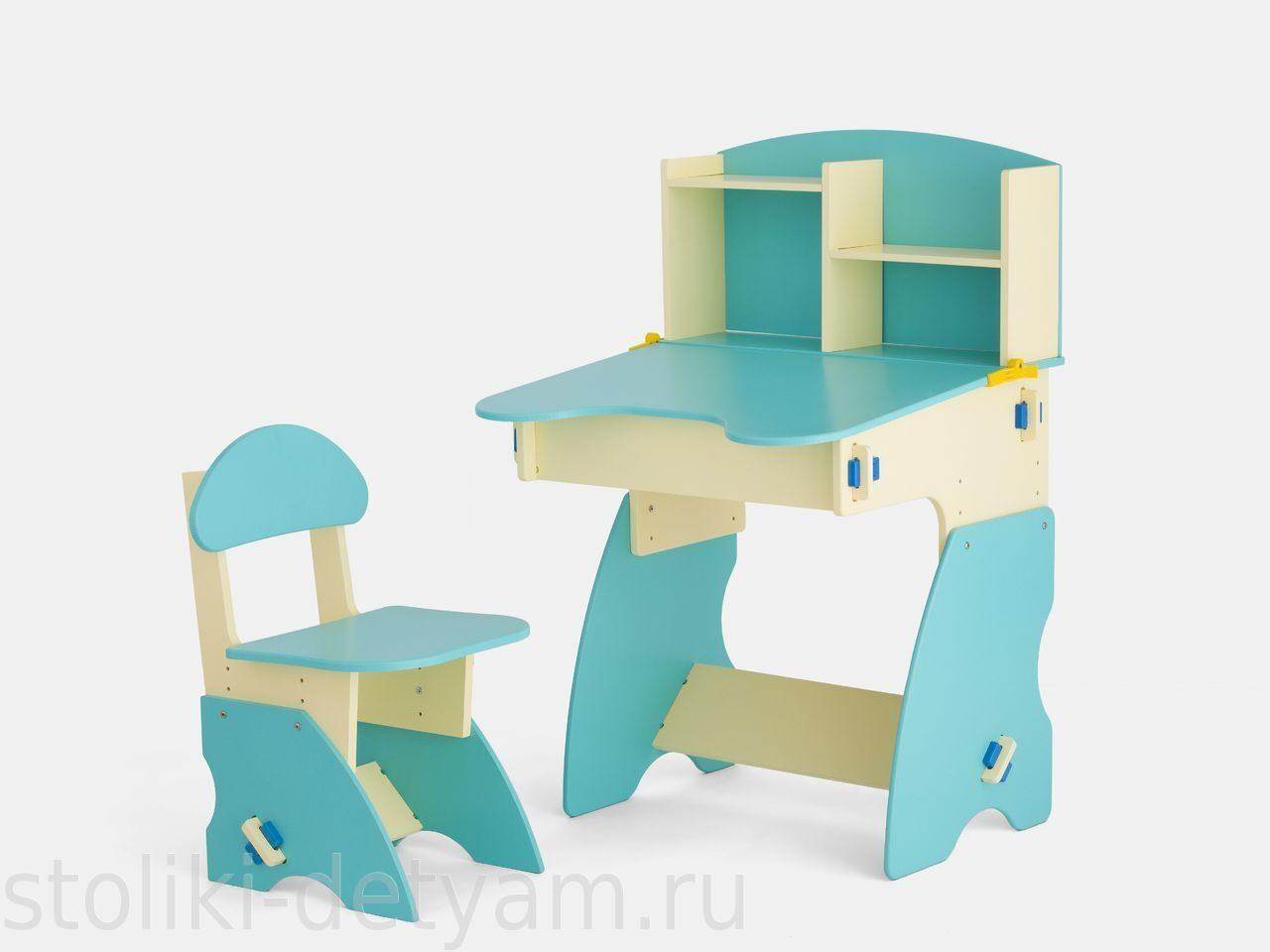 Детский столик с полочками, бежево-бирюзовый ББ-2 Столики Детям