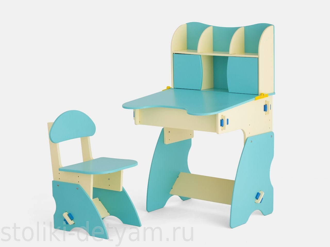 Детский столик с дверцами, бежево-бирюзовый ББ-3 Столики Детям