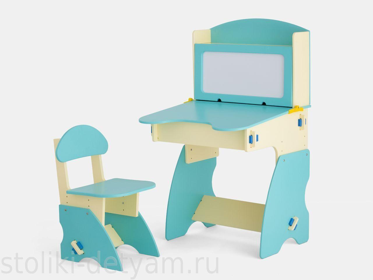 Детский столик с магнитной доской, бежево-бирюзовый