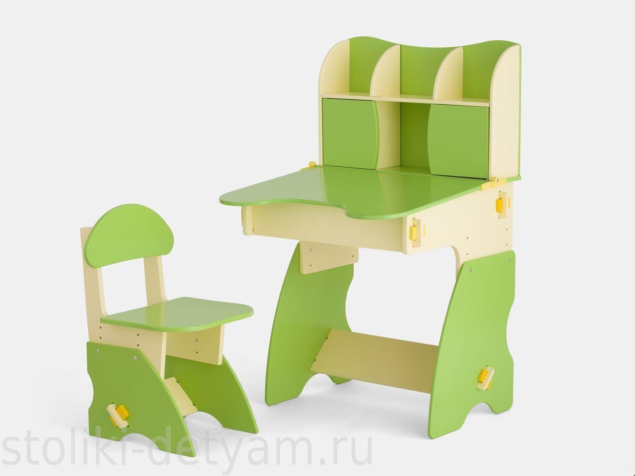 Детский столик с дверцами, бежево-салатовый БС-3 Столики Детям