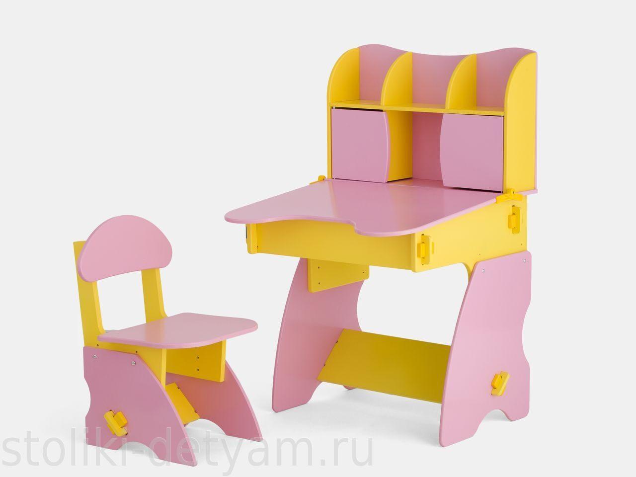 Детский столик с дверцами, желто-розовый ЖР-3 Столики Детям