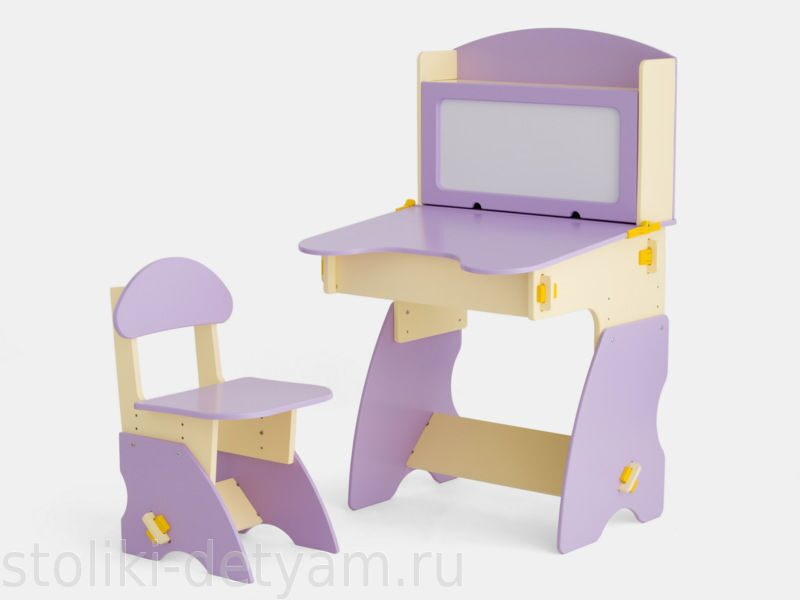 Детский столик с магнитной доской, сиренево-бежевый С-1 Столики Детям
