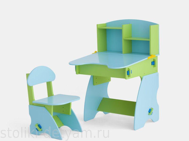 Детский столик с полочками, салатово-голубой СГ-2 Столики Детям