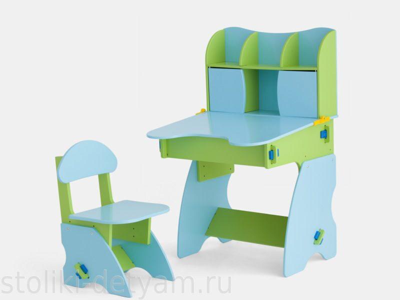 Детский столик с дверцами, салатово-голубой СГ-3 Столики Детям