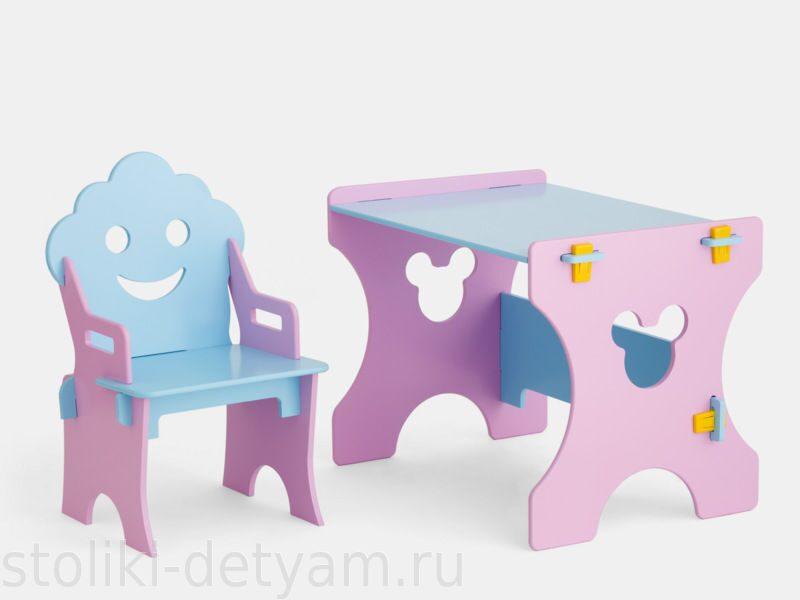 """Комплект столик со стульчиком """"Гном"""", розово-голубой РГ-4 Столики Детям"""