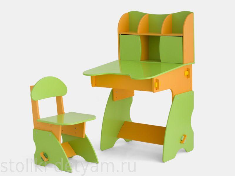 Детский столик с дверцами, салатово-оранжевый СО-3 Столики Детям