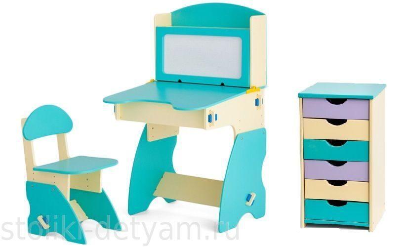 Комплект столик с магнитной доской и тумбочкой, бирюзово-бежевый ББК-1 Столики Детям