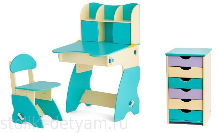Комплект столик с дверцами и тумбочкой, бирюзово-бежевый ББК-3 Столики Детям