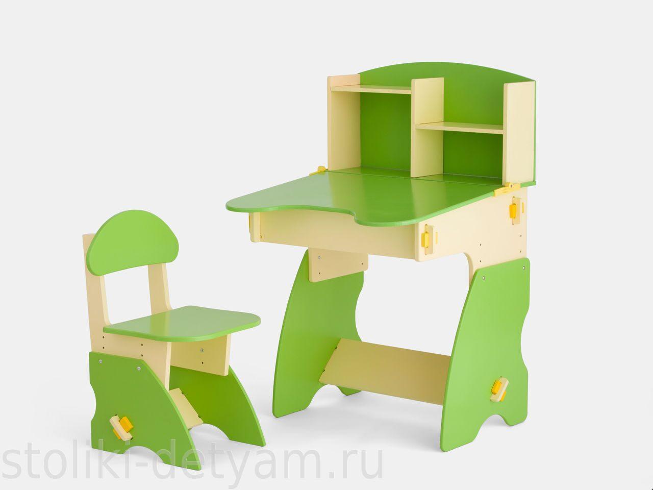 Детский столик с полочками, бежево-салатовый БС-2 Столики Детям