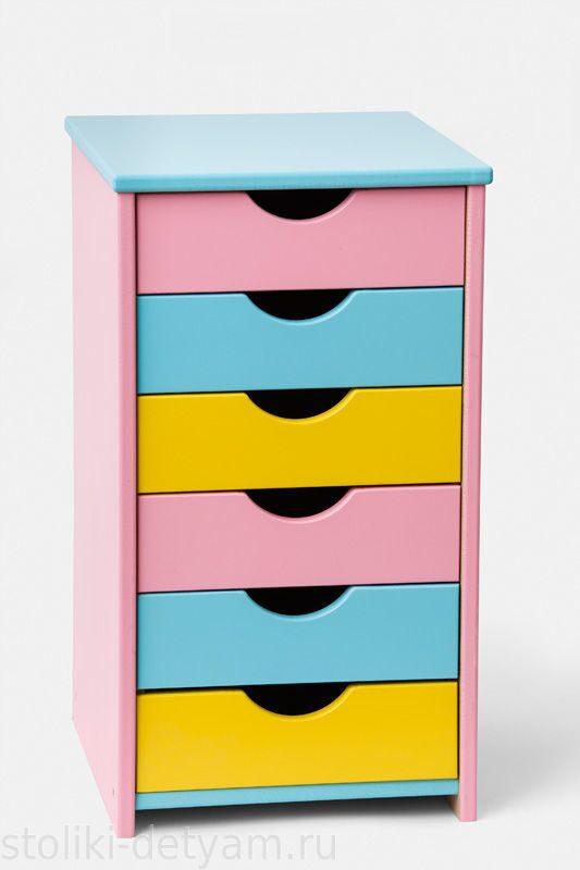 Тумбочка для детей, розово-желто-голубая Т-РЖГ Столики Детям