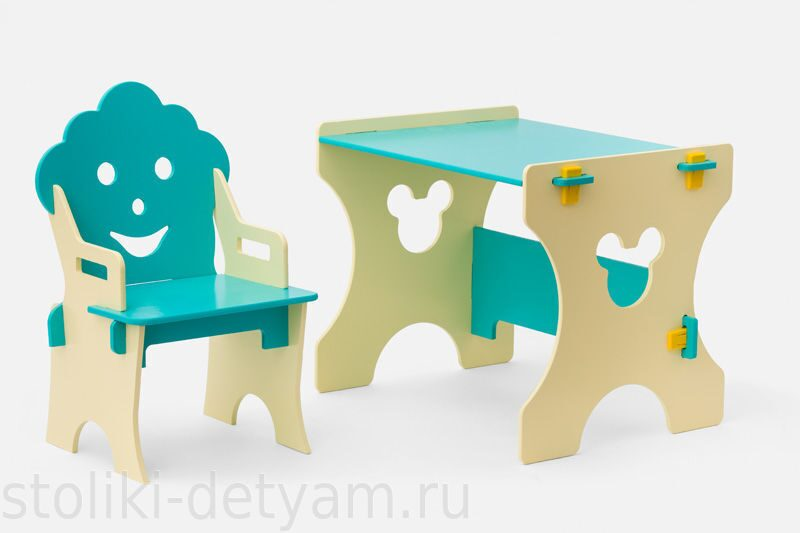 """Комплект столик со стульчиком """"Гном"""", бирюзово-бежевый ББ-4 Столики Детям"""