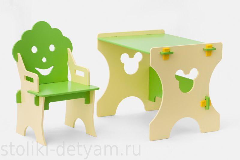 """Комплект столик со стульчиком """"Гном"""", бежево-салатовый БС-4 Столики Детям"""