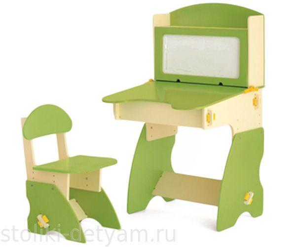 Детский столик с магнитной доской, бежево-салатовый БС-1 Столики Детям