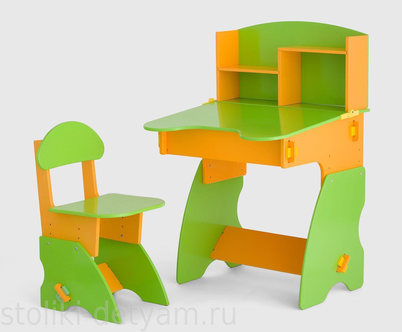 Детский столик с полочками, салатово-оранжевый СО-2 Столики Детям