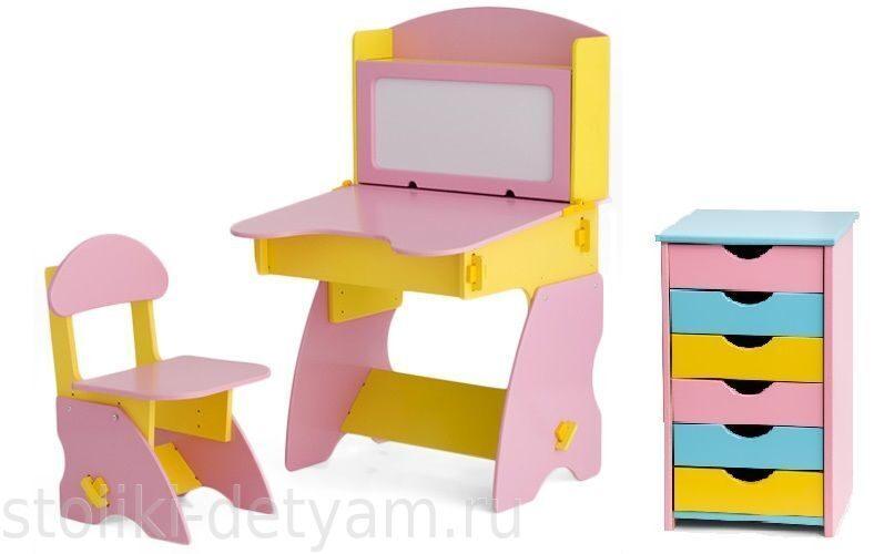 Комплект столик с магнитной доской и тумбочкой, розово-желтый РЖК-1 Столики Детям