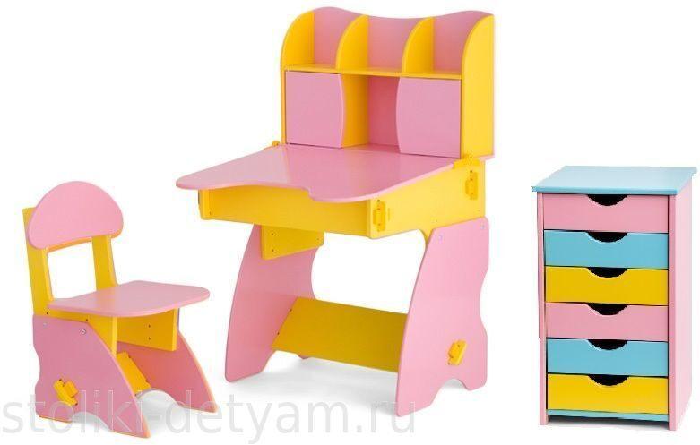 Комплект столик с дверцами и тумбочкой, розово-желтый РЖК-3 Столики Детям