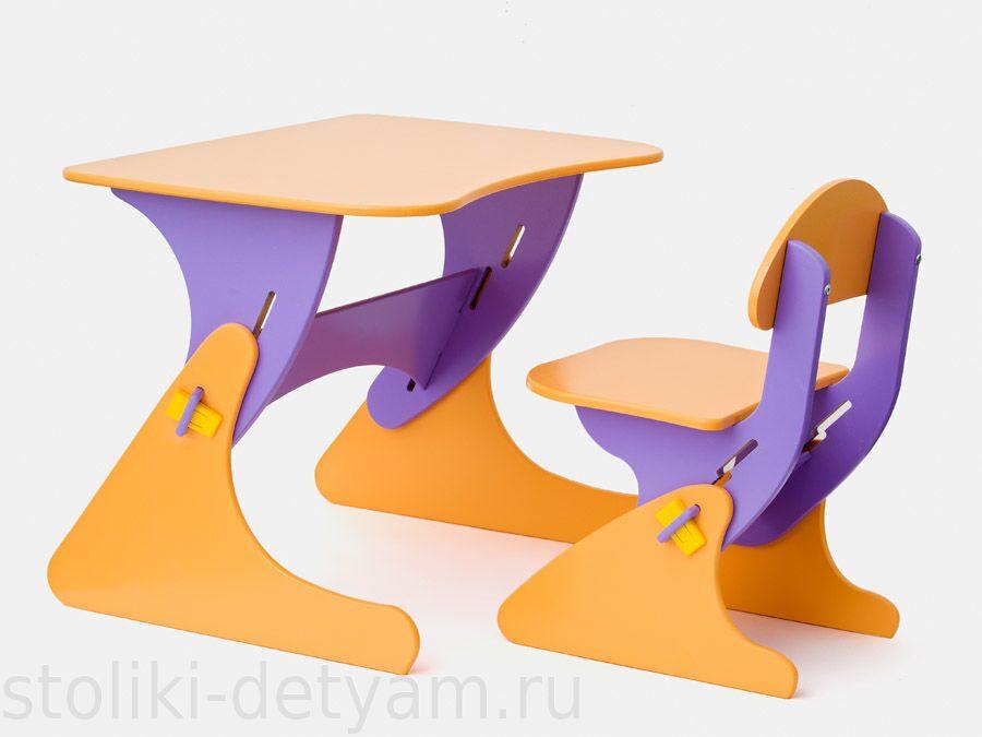 """Столик со стульчиком """"Буслик"""" фиолетово-оранжевый Б-ФО Столики Детям"""