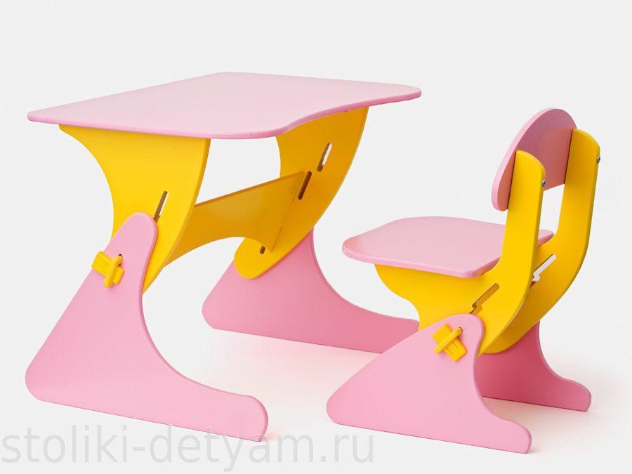 """Столик со стульчиком """"Буслик"""" розово-желтый Б-РЖ Столики Детям"""
