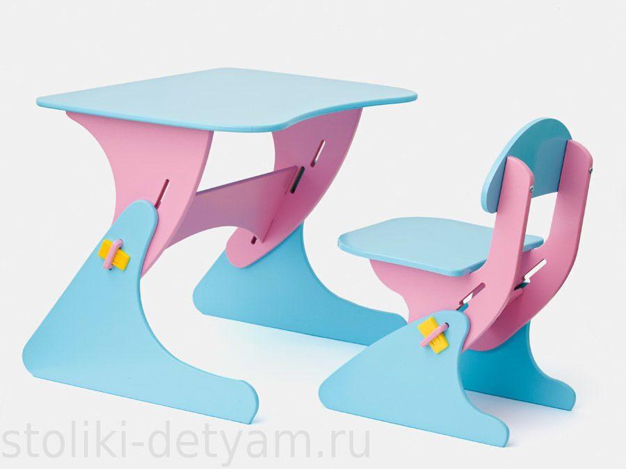 """Столик со стульчиком """"Буслик"""" розово-голубой Б-Рг Столики Детям"""