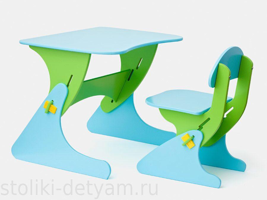 """Столик со стульчиком """"Буслик"""" салатово-голубой Б-СГ Столики Детям"""
