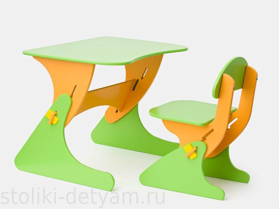 """Столик со стульчиком """"Буслик"""" салатово-оранжевый Б-СО Столики Детям"""
